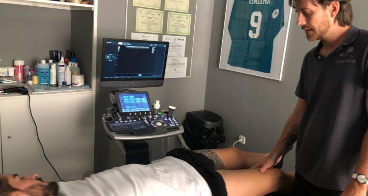 Ecografía zona interna de rodilla zona de menisco interno2 750x400 - Cómo tratar correctamente las lesiones de rodilla